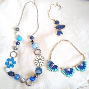 3 vintage blue statement necklaces costume beads